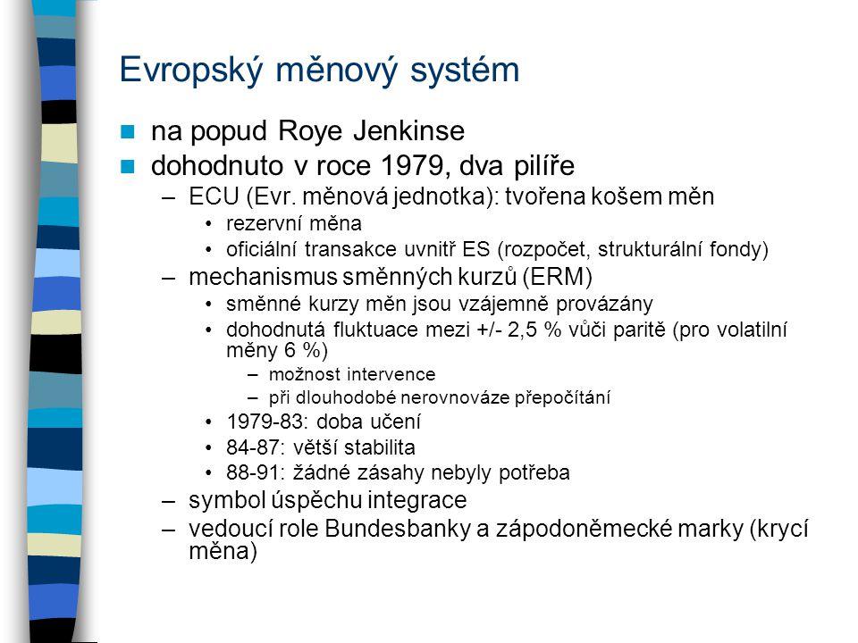 Evropský měnový systém na popud Roye Jenkinse dohodnuto v roce 1979, dva pilíře –ECU (Evr. měnová jednotka): tvořena košem měn rezervní měna oficiální
