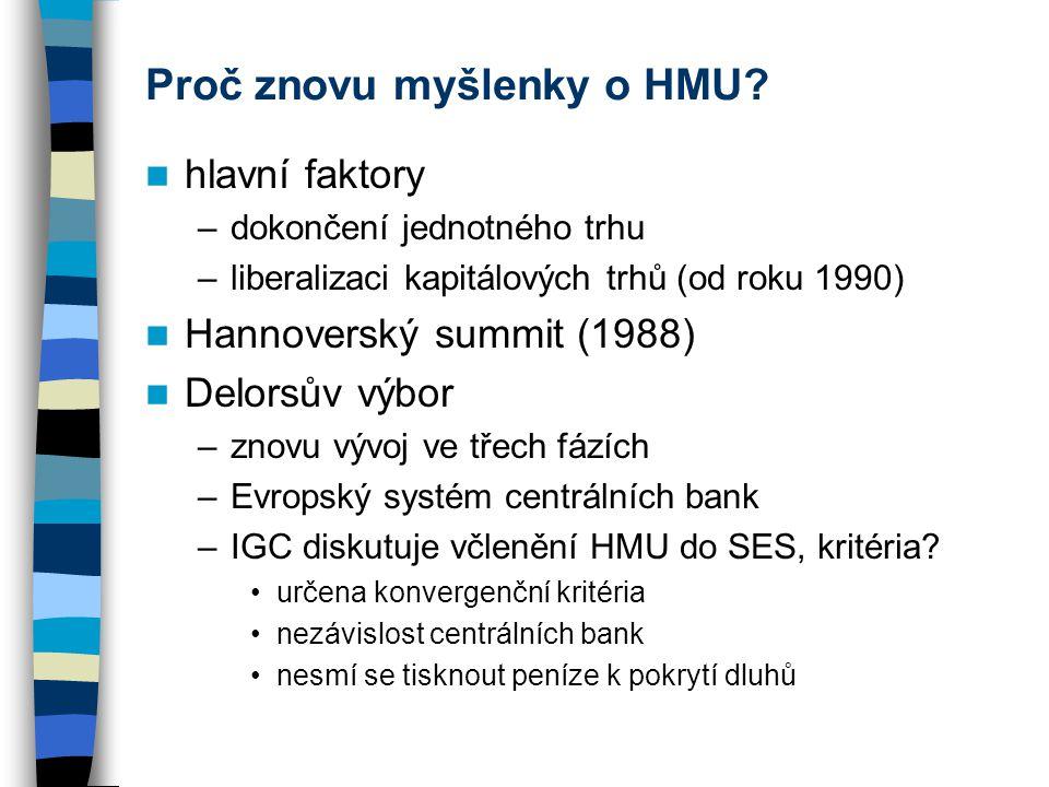 Proč znovu myšlenky o HMU? hlavní faktory –dokončení jednotného trhu –liberalizaci kapitálových trhů (od roku 1990) Hannoverský summit (1988) Delorsův