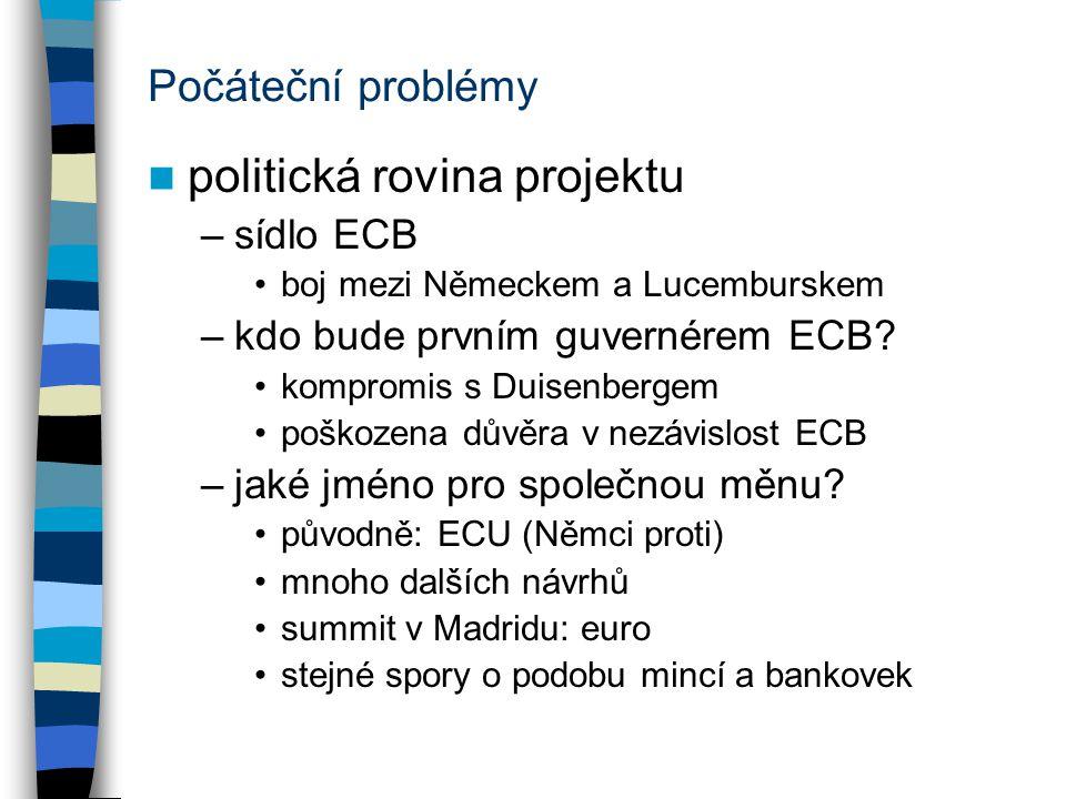 Počáteční problémy politická rovina projektu –sídlo ECB boj mezi Německem a Lucemburskem –kdo bude prvním guvernérem ECB? kompromis s Duisenbergem poš