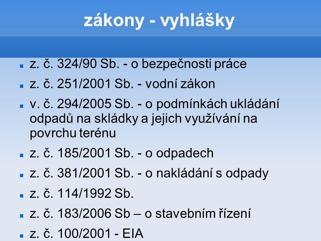 zákony - vyhlášky z. č. 324/90 Sb. - o bezpečnosti práce z.