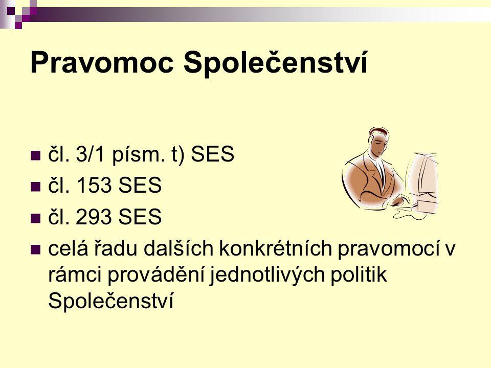 Pravomoc Společenství čl. 3/1 písm. t) SES čl. 153 SES čl. 293 SES celá řadu dalších konkrétních pravomocí v rámci provádění jednotlivých politik Spol