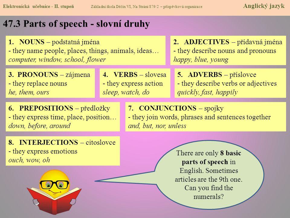 47.3 Parts of speech - slovní druhy Elektronická učebnice - II. stupeň Základní škola Děčín VI, Na Stráni 879/2 – příspěvková organizace Anglický jazy