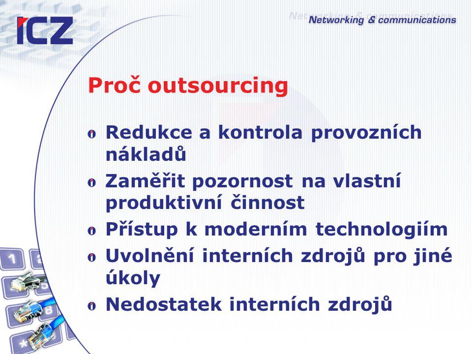 Proč outsourcing Redukce a kontrola provozních nákladů Zaměřit pozornost na vlastní produktivní činnost Přístup k moderním technologiím Uvolnění interních zdrojů pro jiné úkoly Nedostatek interních zdrojů