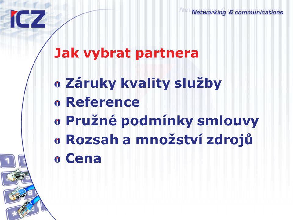 Jak vybrat partnera Záruky kvality služby Reference Pružné podmínky smlouvy Rozsah a množství zdrojů Cena
