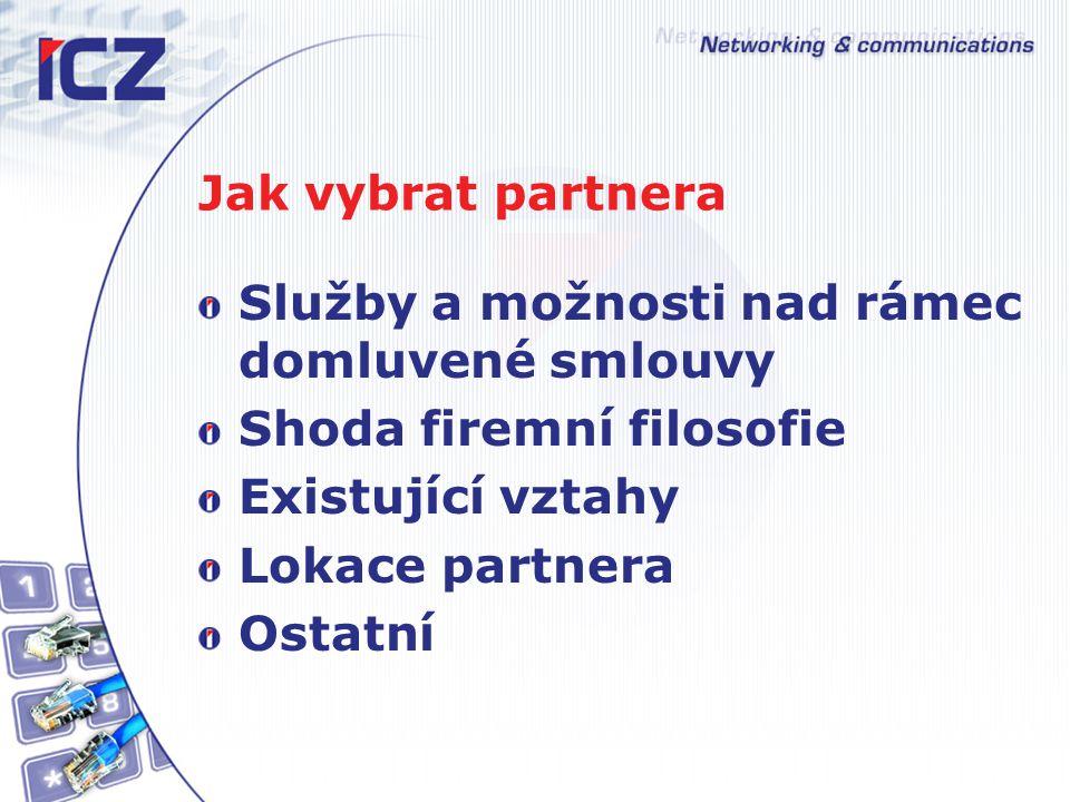 Jak vybrat partnera Služby a možnosti nad rámec domluvené smlouvy Shoda firemní filosofie Existující vztahy Lokace partnera Ostatní