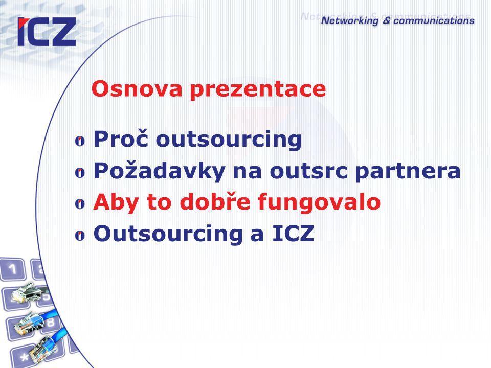 Osnova prezentace Proč outsourcing Požadavky na outsrc partnera Aby to dobře fungovalo Outsourcing a ICZ