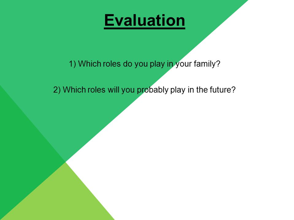 Evaluation 1) Which roles do you play in your family.