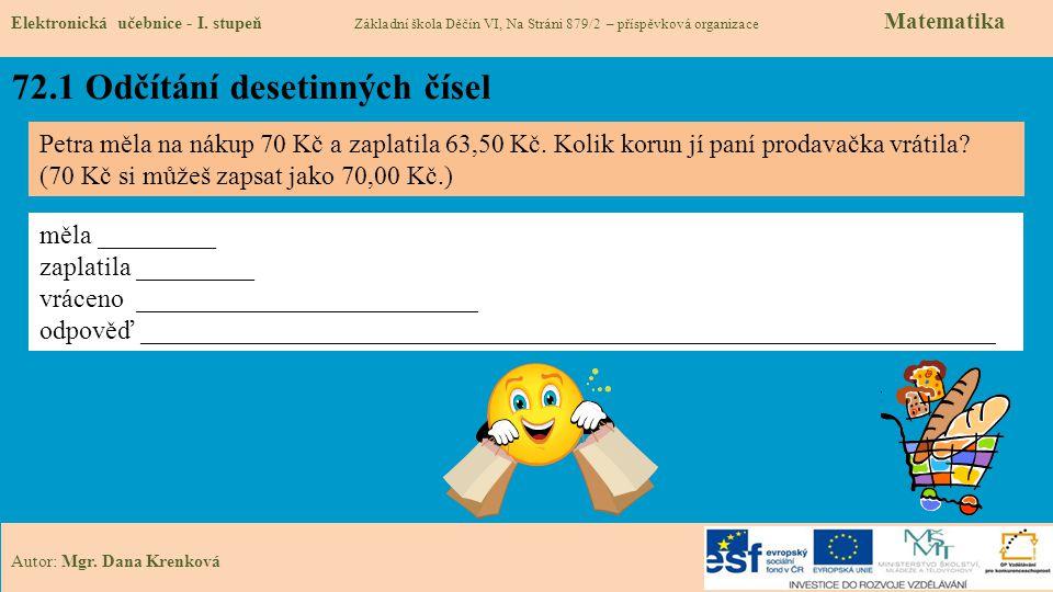 72.1 Odčítání desetinných čísel Elektronická učebnice - I. stupeň Základní škola Děčín VI, Na Stráni 879/2 – příspěvková organizace Matematika Autor: