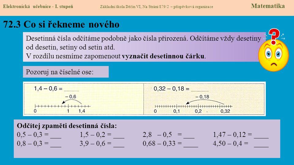 72.3 Co si řekneme nového Elektronická učebnice - I. stupeň Základní škola Děčín VI, Na Stráni 879/2 – příspěvková organizace Matematika Desetinná čís