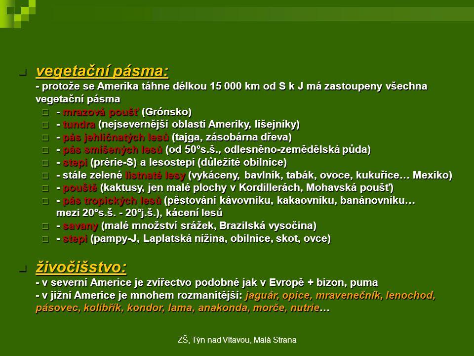 vegetační pásma: vegetační pásma: - protože se Amerika táhne délkou 15 000 km od S k J má zastoupeny všechna vegetační pásma  - mrazová poušť (Grónsk