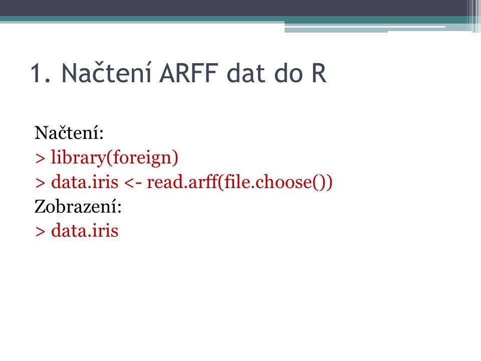 1. Načtení ARFF dat do R Načtení: > library(foreign) > data.iris <- read.arff(file.choose()) Zobrazení: > data.iris