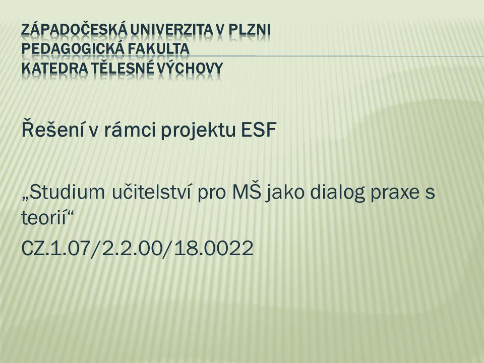 """Řešení v rámci projektu ESF """"Studium učitelství pro MŠ jako dialog praxe s teorií"""" CZ.1.07/2.2.00/18.0022"""