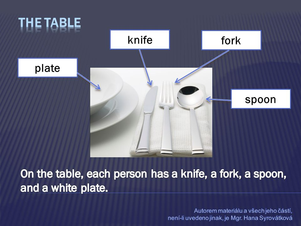 knife plate fork spoon