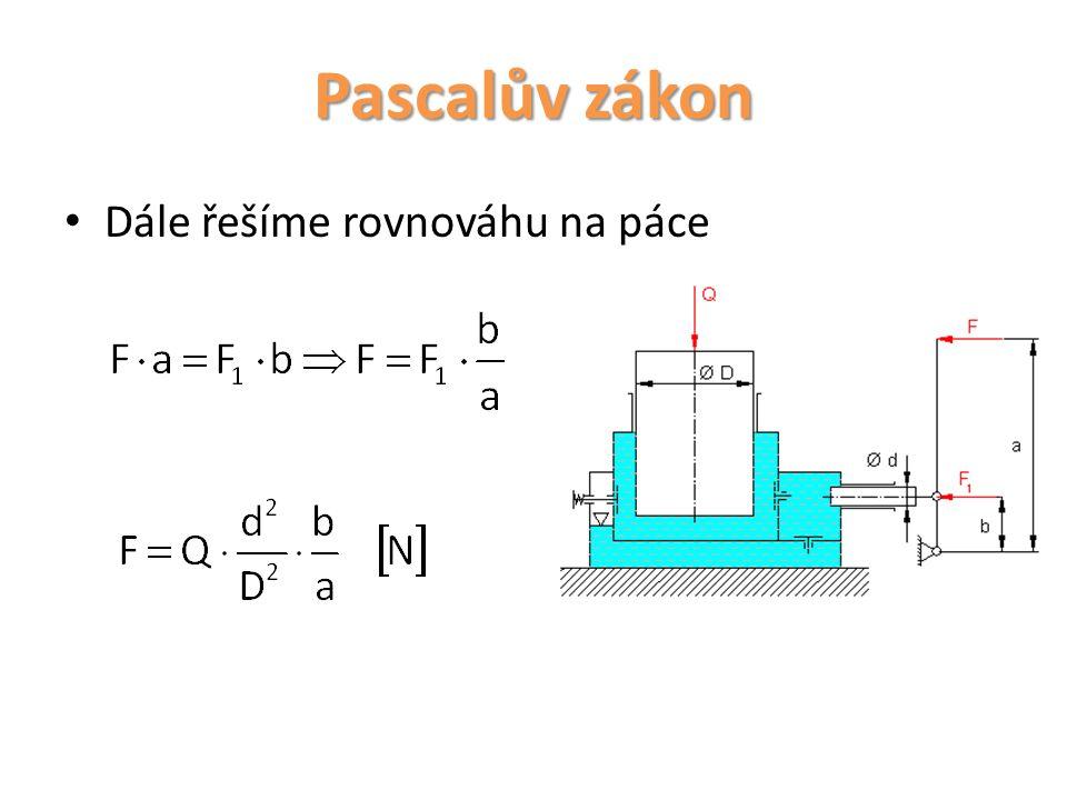 Pascalův zákon Dále řešíme rovnováhu na páce