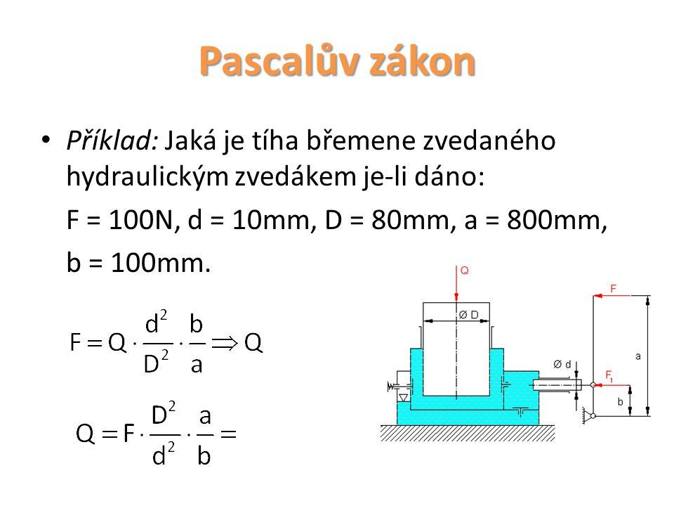 Pascalův zákon Příklad: Jaká je tíha břemene zvedaného hydraulickým zvedákem je-li dáno: F = 100N, d = 10mm, D = 80mm, a = 800mm, b = 100mm.