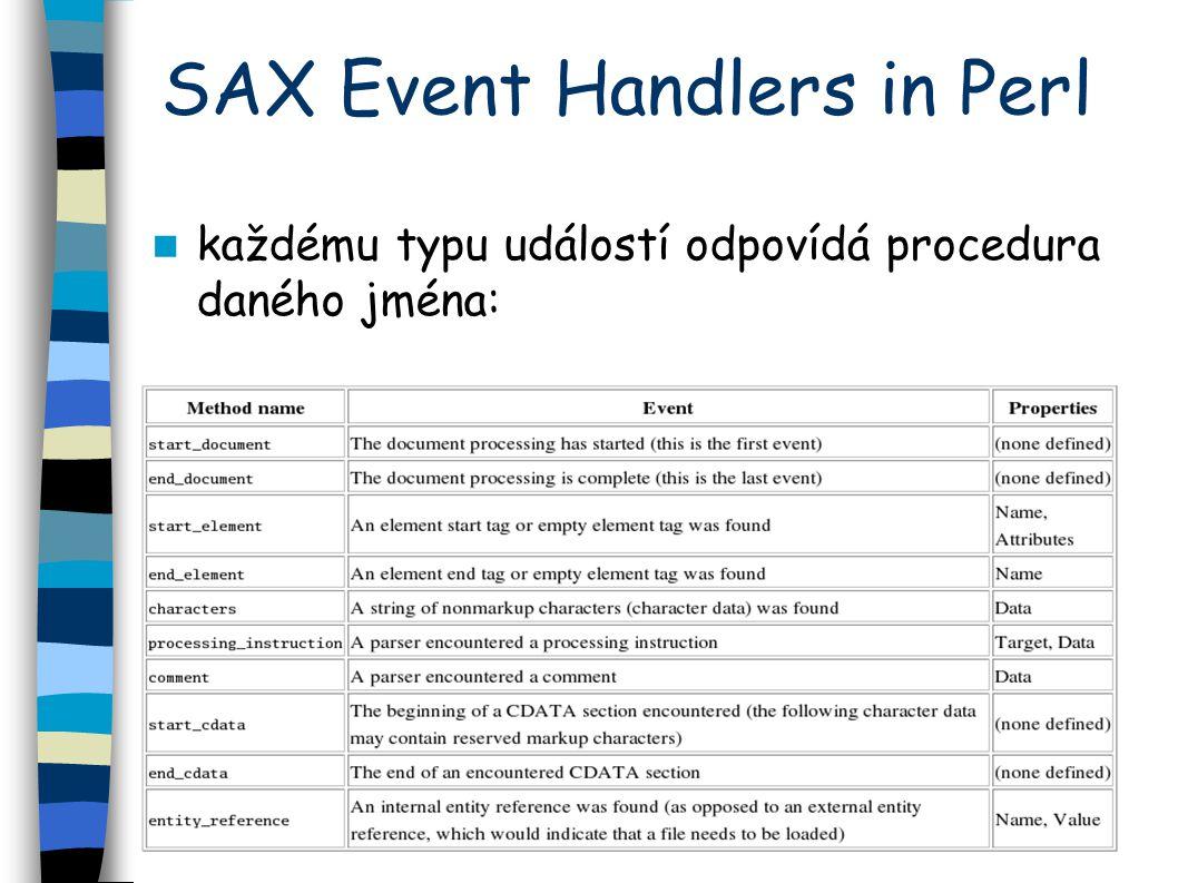 SAX Event Handlers in Perl každému typu událostí odpovídá procedura daného jména: