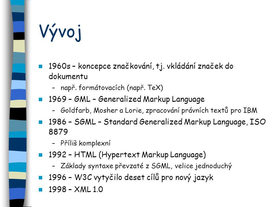 Vývoj 1960s – koncepce značkování, tj. vkládání značek do dokumentu –např.