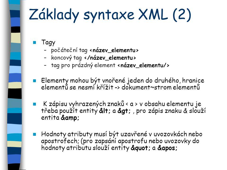 Základy syntaxe XML (2) Tagy –počáteční tag –koncový tag –tag pro prázdný element Elementy mohou být vnořené jeden do druhého, hranice elementů se nesmí křížit -> dokument~strom elementů K zápisu vyhrazených znaků v obsahu elementu je třeba použít entity < a >, pro zápis znaku & slouží entita & Hodnoty atributy musí být uzavřené v uvozovkách nebo apostrofech; (pro zapsání apostrofu nebo uvozovky do hodnoty atributu slouží entity a &apos;