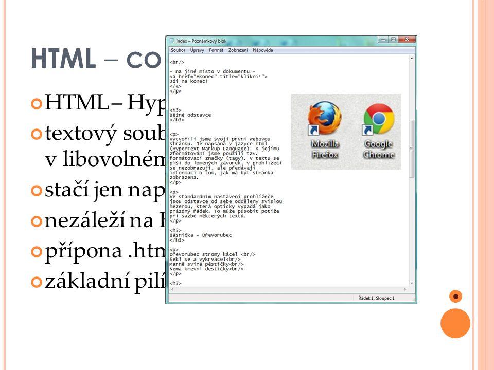 HTML – CO JE HTML .