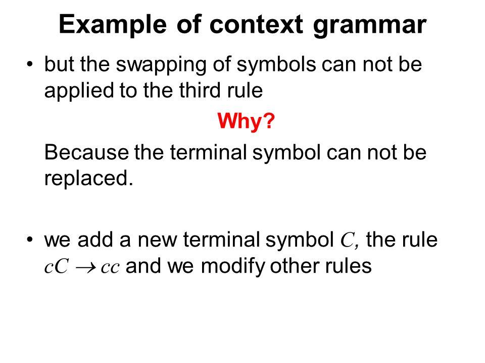České vysoké učení technické v Praze Fakulta dopravní Example of context grammar but the swapping of symbols can not be applied to the third rule Why.