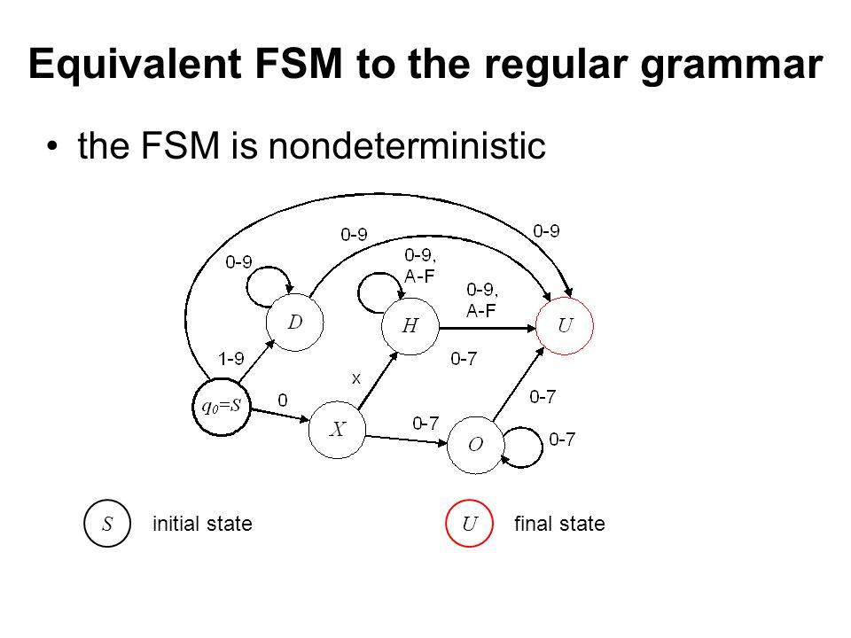 České vysoké učení technické v Praze Fakulta dopravní Equivalent FSM to the regular grammar the FSM is nondeterministic S initial state U final state
