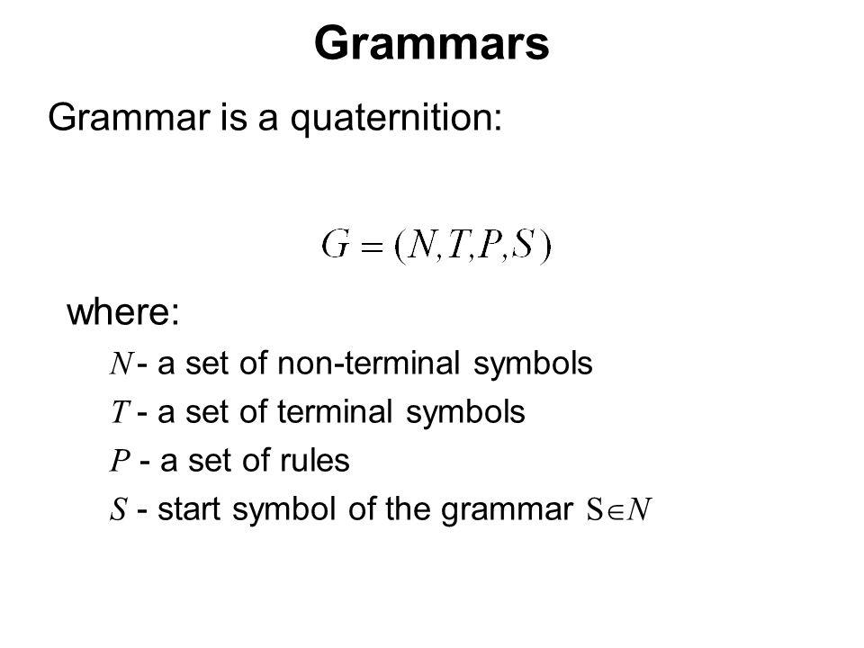 České vysoké učení technické v Praze Fakulta dopravní Grammars Grammar is a quaternition: where: N - a set of non-terminal symbols T - a set of terminal symbols P - a set of rules S - start symbol of the grammar S  N