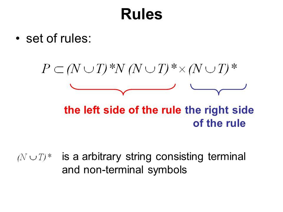"""České vysoké učení technické v Praze Fakulta dopravní Rules the rule ( ,  )  P is written in the form of    –the sense: """"  is transcribed to  the left side contains always at least one non-terminal symbol (it is possible to rewrite non-terminal symbol)"""