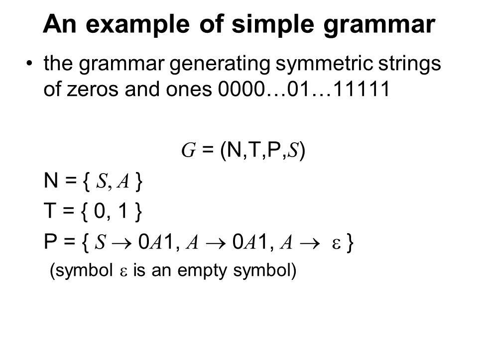 České vysoké učení technické v Praze Fakulta dopravní Example of context language G = { N, T, P, S } N = { S, B, C, X } T = { a, b, c } P = { S  abC, S  aSBC, CB  XB, XB  XC, XC  BC, bB   bb, bC  bc, cC  c } the grammar generates the same language