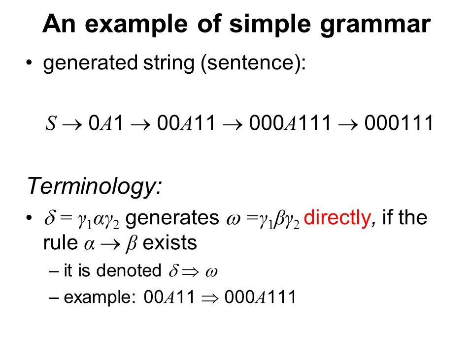 České vysoké učení technické v Praze Fakulta dopravní An example of simple grammar generated string (sentence): S  0 A 1  00 A 11  000 A 111  0001