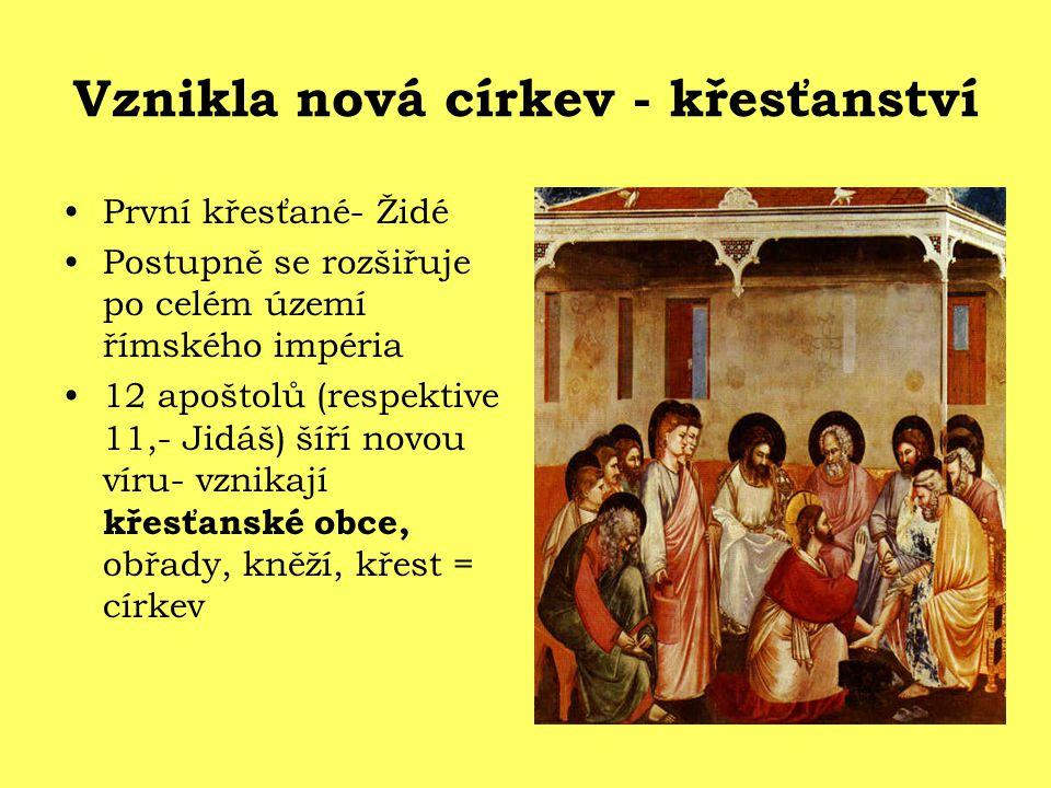 Vznikla nová církev - křesťanství První křesťané- Židé Postupně se rozšiřuje po celém území římského impéria 12 apoštolů (respektive 11,- Jidáš) šíří