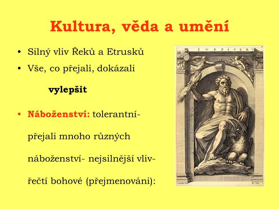 Kultura, věda a umění Silný vliv Řeků a Etrusků Vše, co přejali, dokázali vylepšit Náboženství: tolerantní- přejali mnoho různých náboženství- nejsilnější vliv- řečtí bohové (přejmenováni):