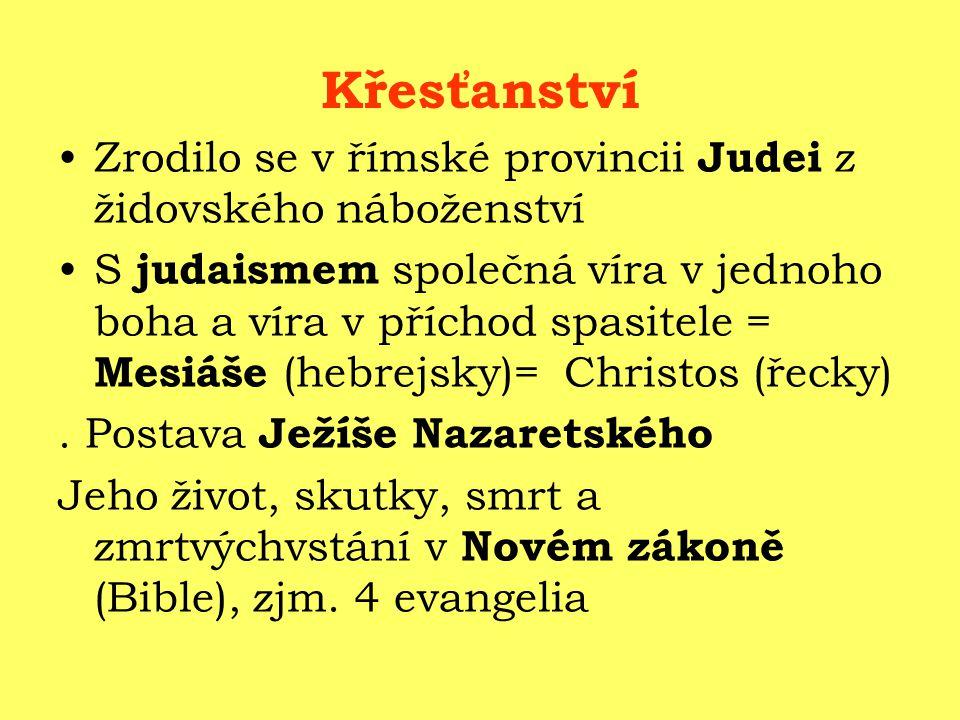 Křesťanství Zrodilo se v římské provincii Judei z židovského náboženství S judaismem společná víra v jednoho boha a víra v příchod spasitele = Mesiáše (hebrejsky)= Christos (řecky).