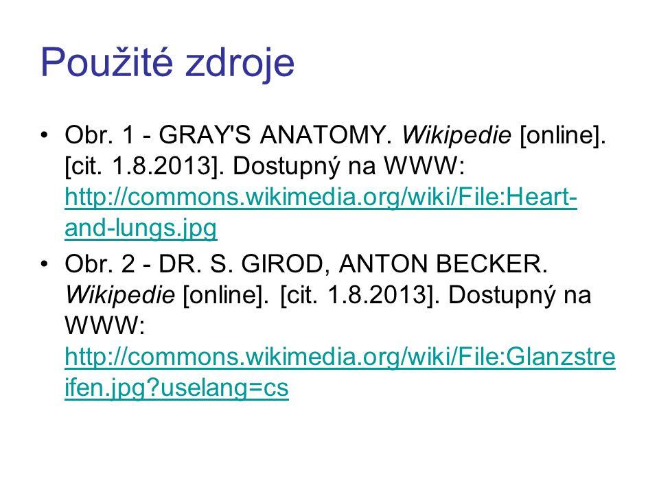 Použité zdroje Obr.1 - GRAY S ANATOMY. Wikipedie [online].