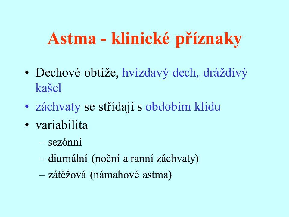 Astma - klinické příznaky Dechové obtíže, hvízdavý dech, dráždivý kašel záchvaty se střídají s obdobím klidu variabilita –sezónní –diurnální (noční a