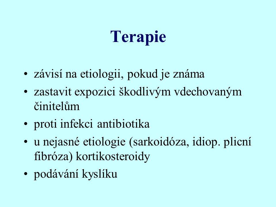 Terapie závisí na etiologii, pokud je známa zastavit expozici škodlivým vdechovaným činitelům proti infekci antibiotika u nejasné etiologie (sarkoidóz