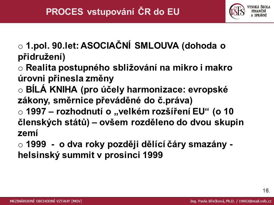 16. PROCES vstupování ČR do EU MEZINÁRODNÍ OBCHODNÍ VZTAHY [MOV] Ing.