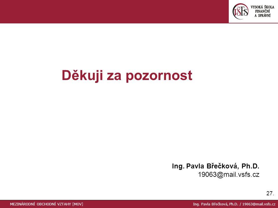27. Děkuji za pozornost Ing. Pavla Břečková, Ph.D.