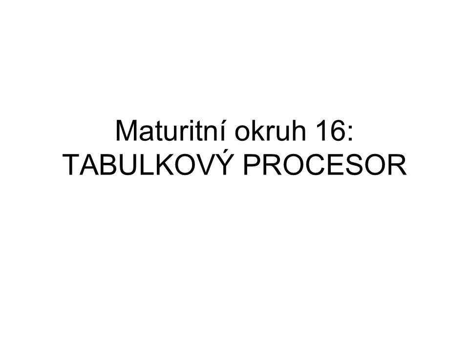 tabulkový procesor je program, umožňující zpracovávání číselných údajů zápis číselných údajů, výpočty a grafické znázorňování tabulkové procesory umožňují provádět výpočty na základě námi zadaných matematických vzorců nebo předdefinovaných funkcí
