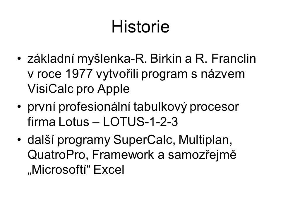 Historie základní myšlenka-R. Birkin a R. Franclin v roce 1977 vytvořili program s názvem VisiCalc pro Apple první profesionální tabulkový procesor fi