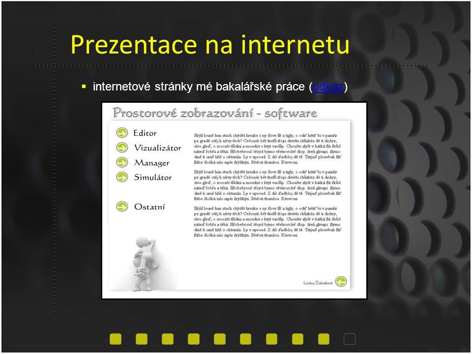 Prezentace na internetu  internetové stránky mé bakalářské práce (odkaz)odkaz