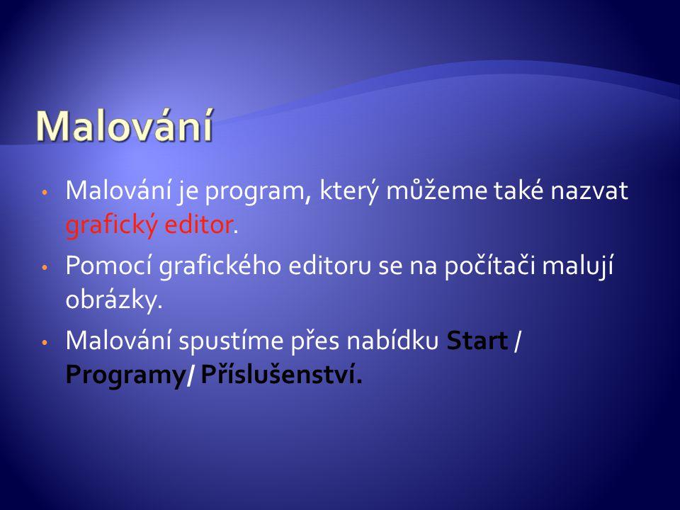 Malování je program, který můžeme také nazvat grafický editor.