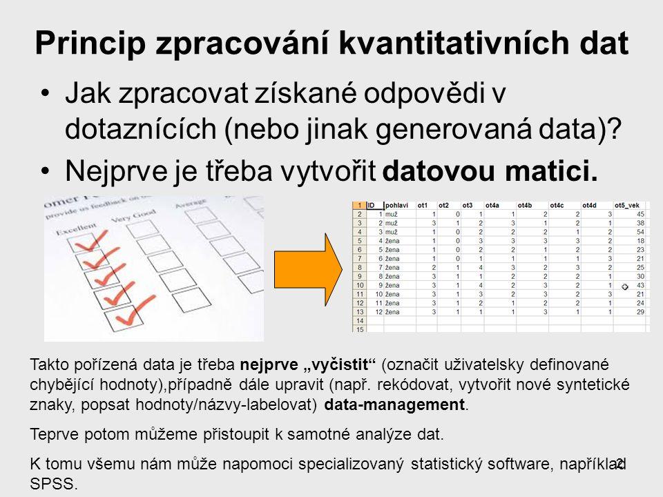 13 Vkládání dat v Data editoru Variable View Zde si nejprve připravíme datovou matici: jména proměnných (Name), jejich typ/formát (Type) a případně labely Data View Zde pak ukládáme data – po řádcích (1 řádek = 1 respondent/ dotazník)