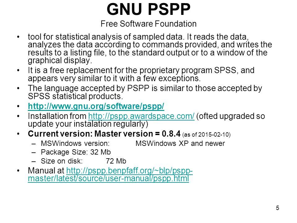 6 Tři typy oken v SPSS / PSPP Data editor (záložky Variable View a Data View) → správa datového souboru → soubory s koncovkou *.sav Output → výstupy analýz → soubory s koncovkou *.spv (od verze 15) Syntax → zadávání pomocí příkazového řádku → soubory s koncovkou *.sps