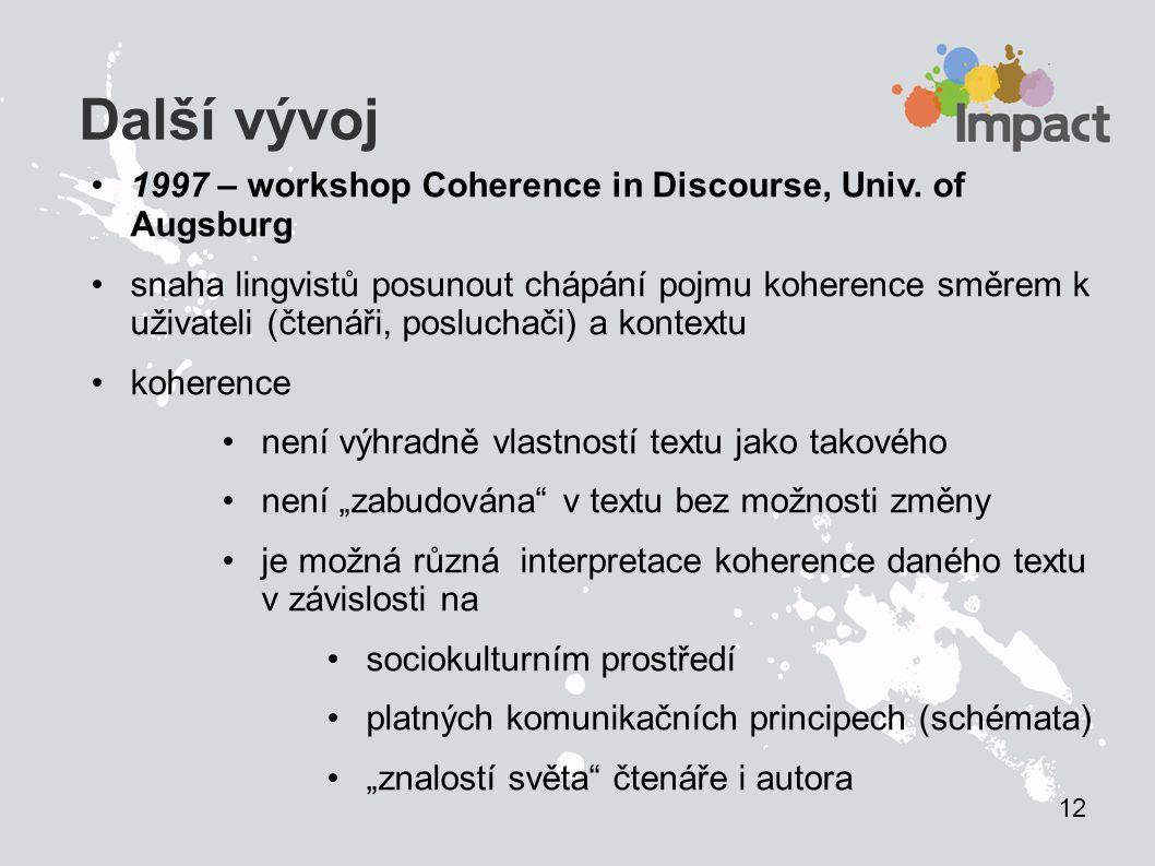 Další vývoj 1997 – workshop Coherence in Discourse, Univ. of Augsburg snaha lingvistů posunout chápání pojmu koherence směrem k uživateli (čtenáři, po