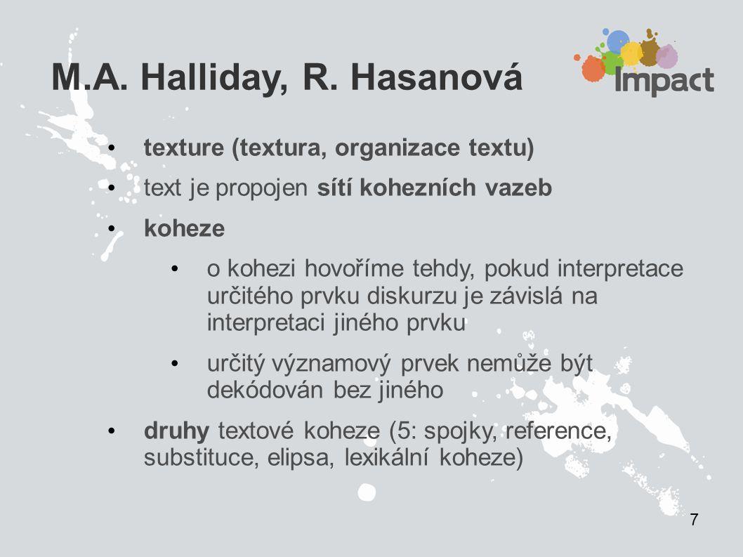 M.A. Halliday, R. Hasanová texture (textura, organizace textu) text je propojen sítí kohezních vazeb koheze o kohezi hovoříme tehdy, pokud interpretac