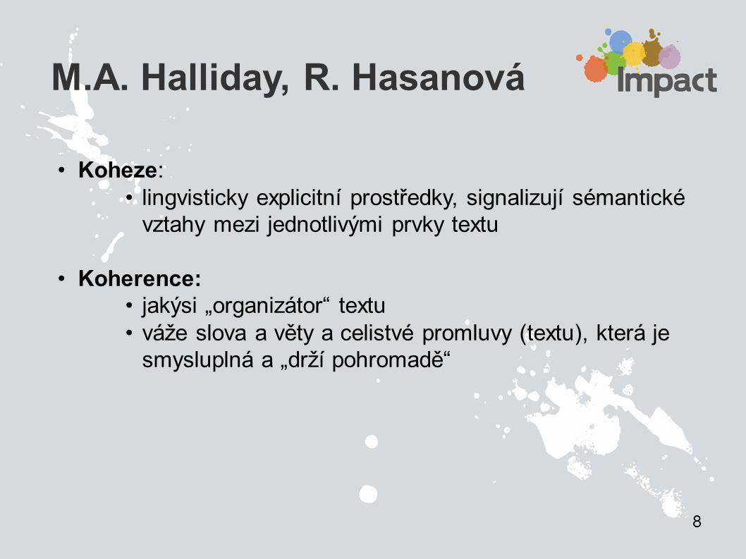 """M.A. Halliday, R. Hasanová Koheze: lingvisticky explicitní prostředky, signalizují sémantické vztahy mezi jednotlivými prvky textu Koherence: jakýsi """""""