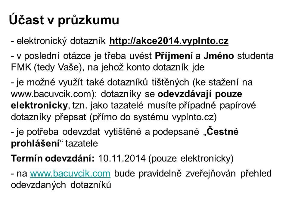 - elektronický dotazník http://akce2014.vyplnto.cz - v poslední otázce je třeba uvést Příjmení a Jméno studenta FMK (tedy Vaše), na jehož konto dotazn