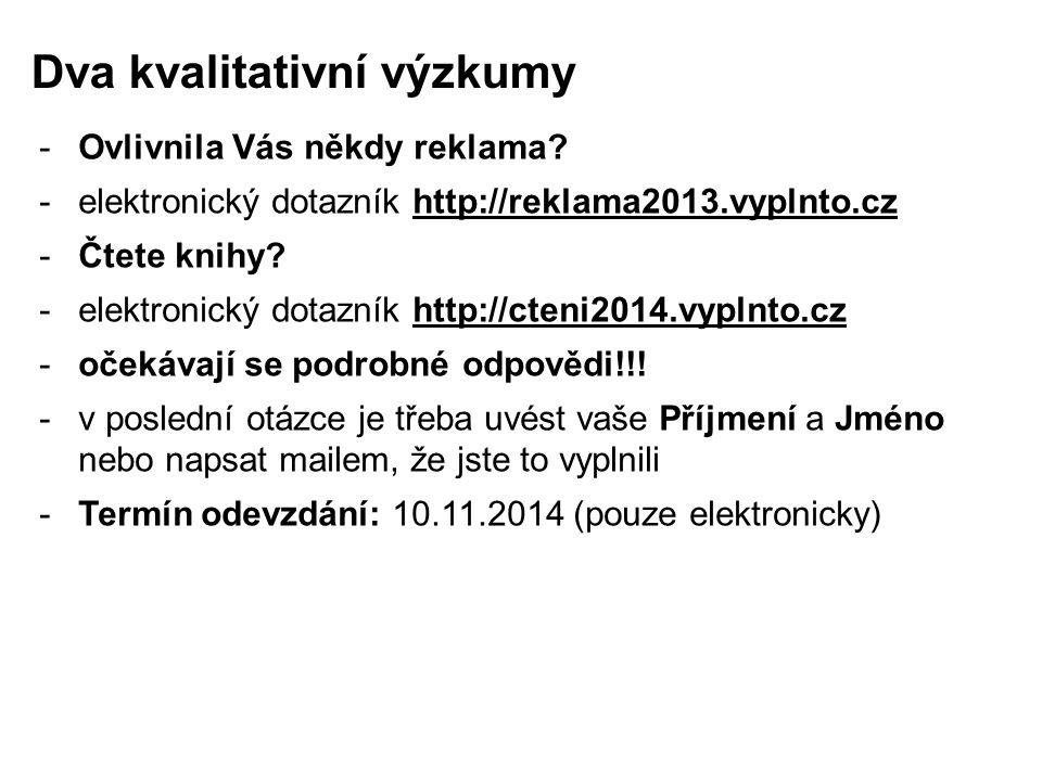 -Ovlivnila Vás někdy reklama? -elektronický dotazník http://reklama2013.vyplnto.cz -Čtete knihy? -elektronický dotazník http://cteni2014.vyplnto.cz -o