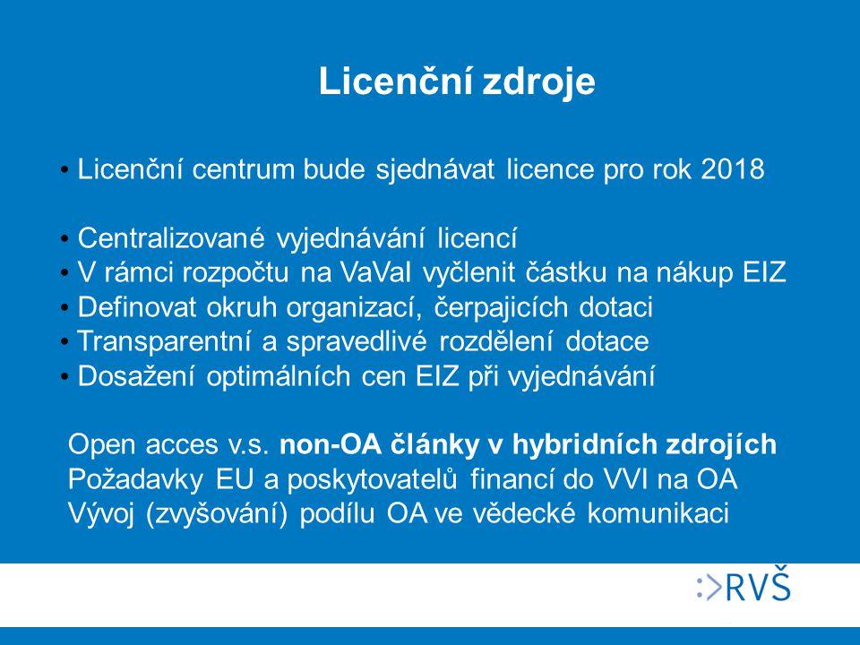 Licenční centrum bude sjednávat licence pro rok 2018 Centralizované vyjednávání licencí V rámci rozpočtu na VaVaI vyčlenit částku na nákup EIZ Definovat okruh organizací, čerpajicích dotaci Transparentní a spravedlivé rozdělení dotace Dosažení optimálních cen EIZ při vyjednávání Open acces v.s.