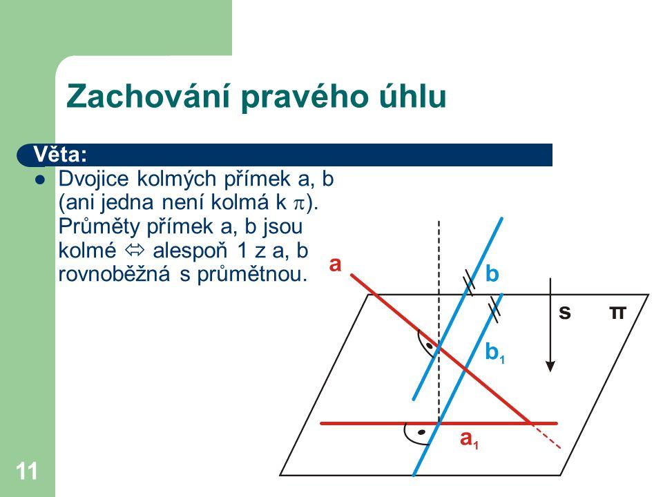 11 Zachování pravého úhlu Věta: ●Dvojice kolmých přímek a, b (ani jedna není kolmá k  ).
